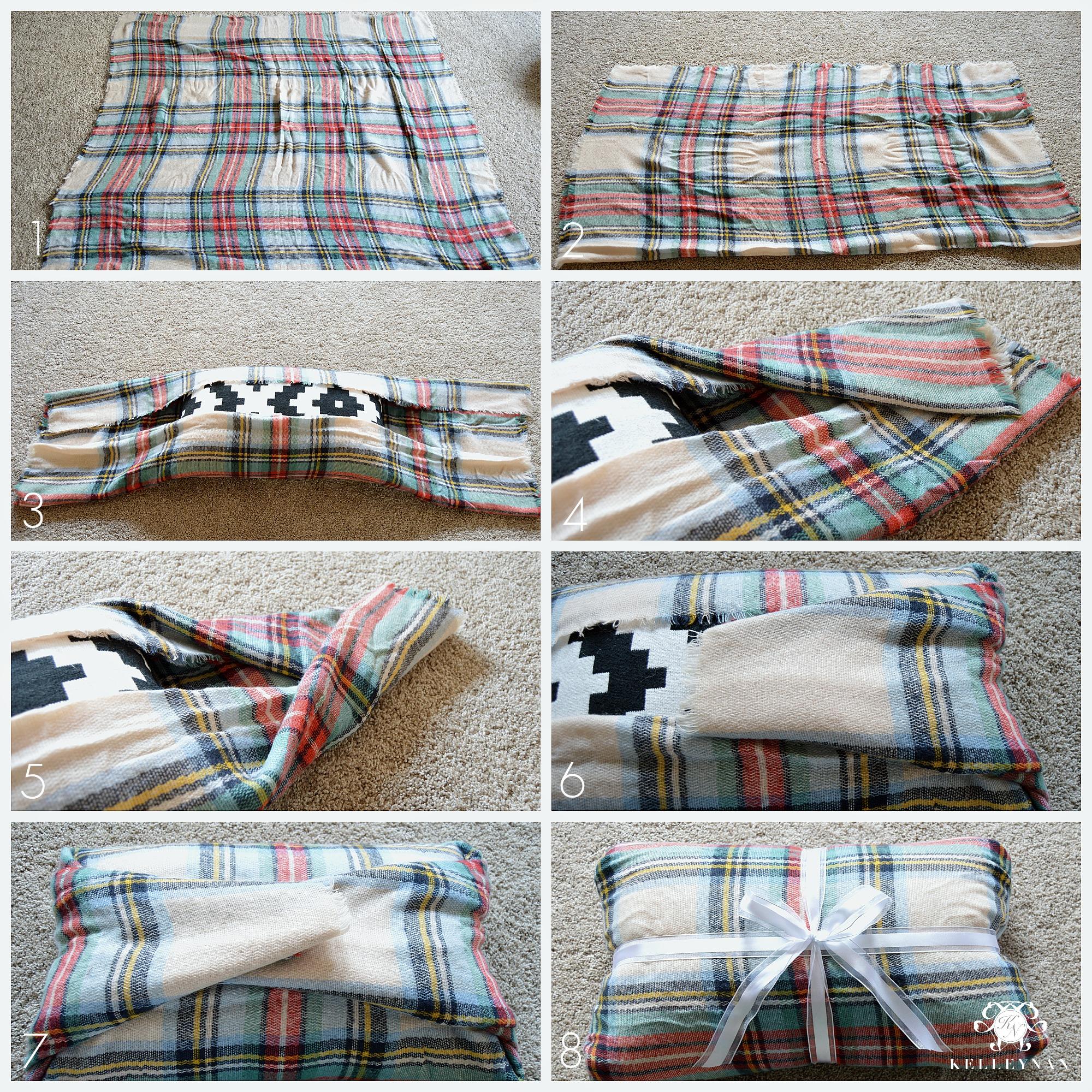 DIY No-Sew Blanket Scarf Christmas Pillow Tutorial - Kelley Nan