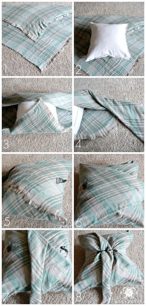 Blanket Scarf No Sew Pillow Tutorial