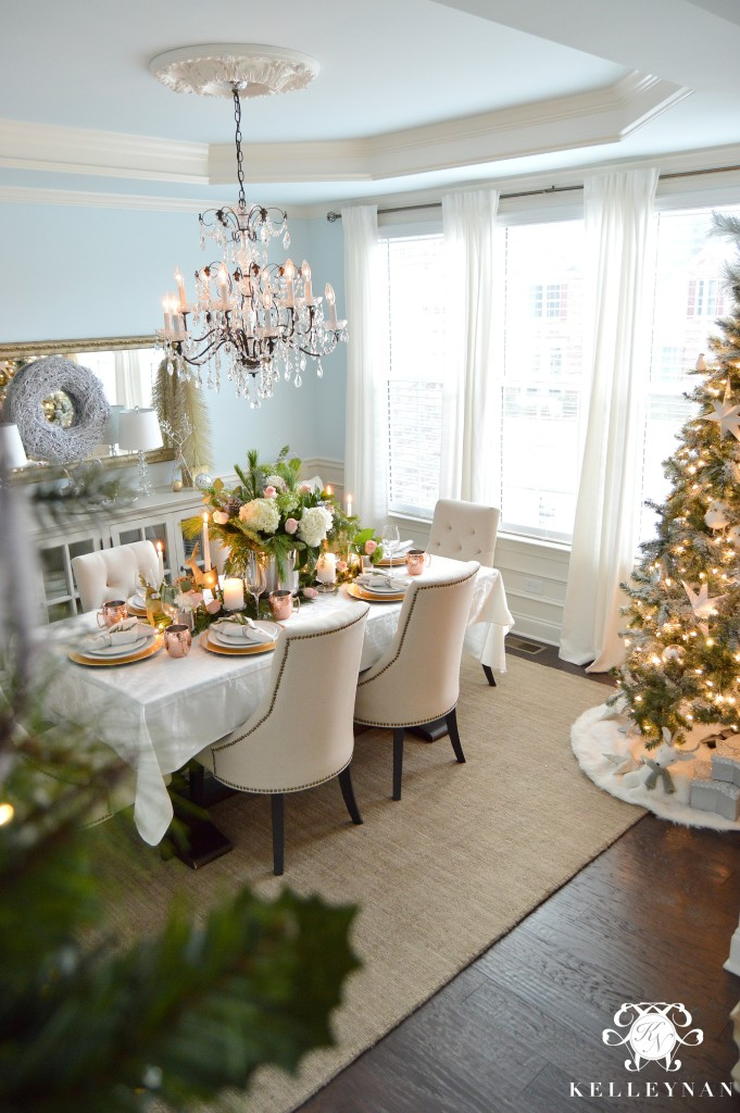 Copper Christmas Table and Christmas Tree in Dining Room