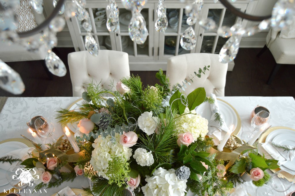 Chandelier Crystals Over Flowers on Table