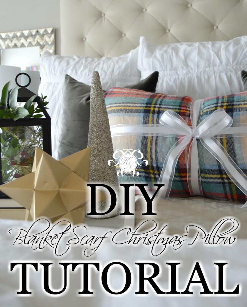 DIY No Sew Blanket Scarf Christmas Pillow DIY Tutorial