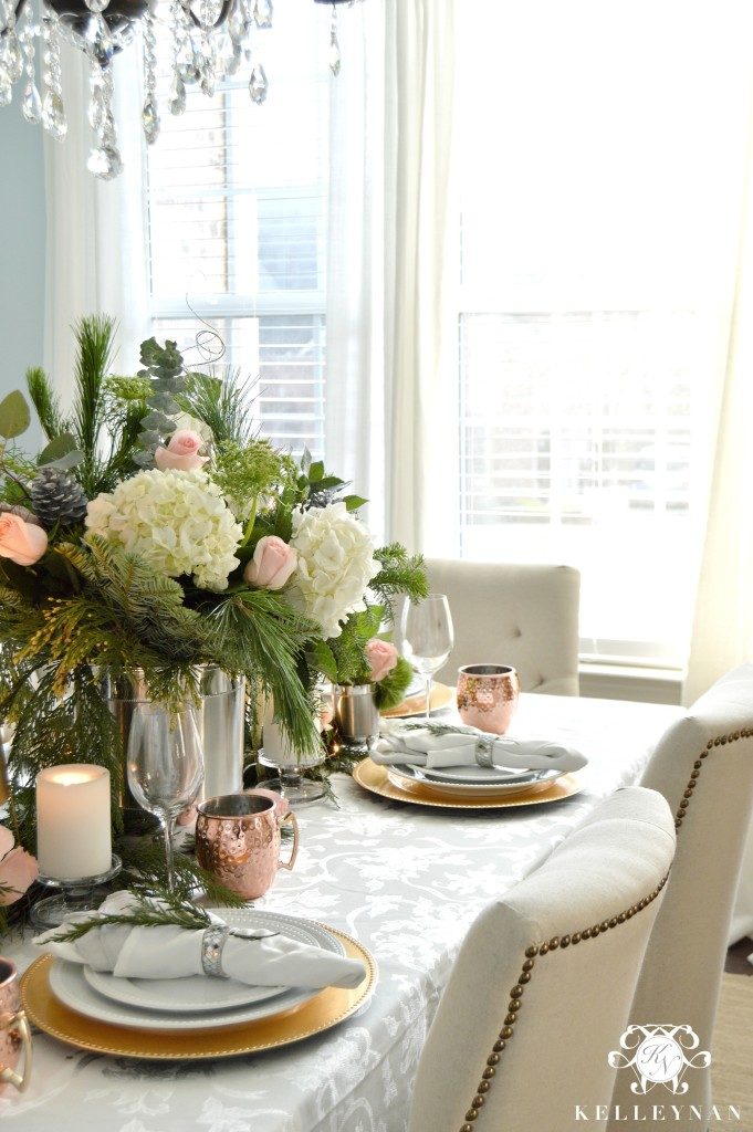 Pink and Copper Christmas Table