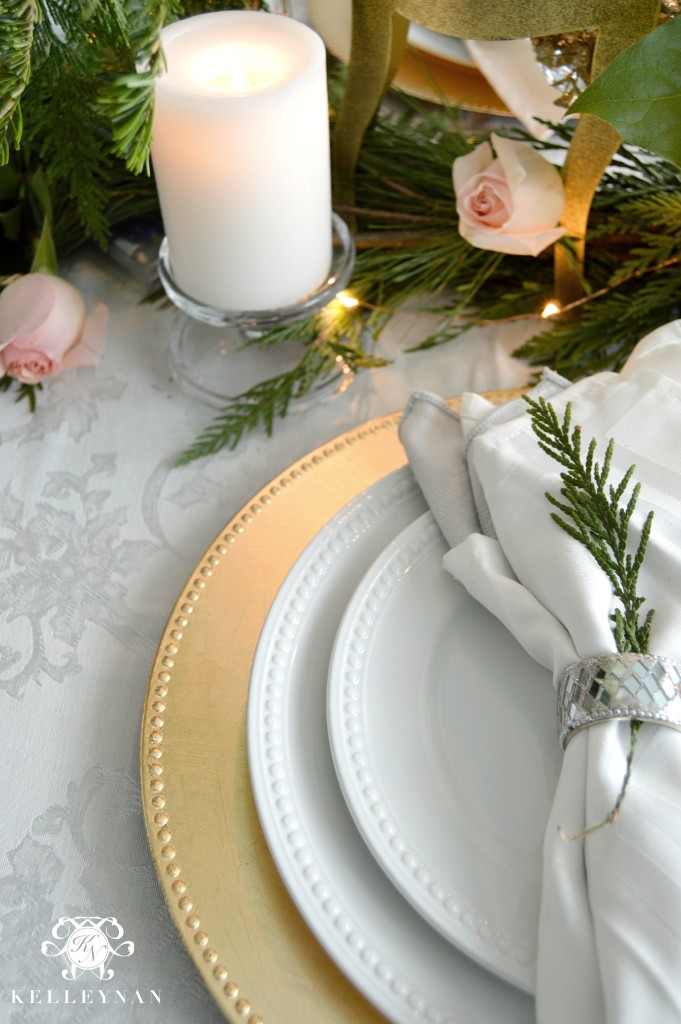 Gold and White Christmas Place Setting