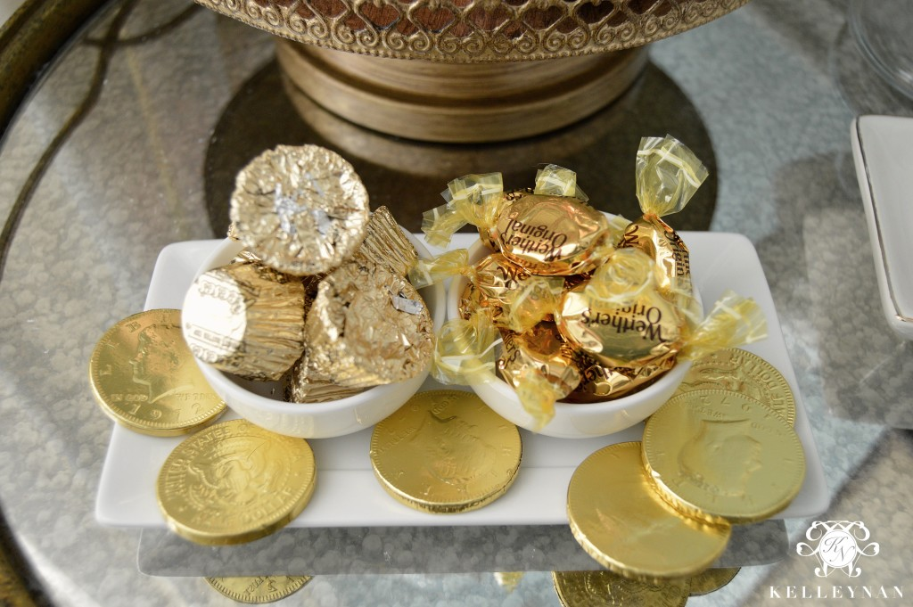 Gold Candies on Hot Chocolate Bar