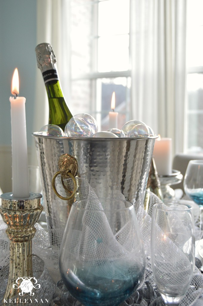 Champagne Bucket on New Year's Table