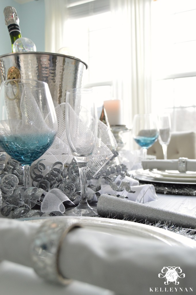 Wine Glasses on New Year's Table