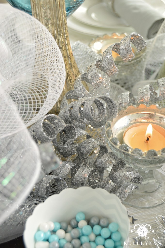 New Year's Table Votives and Ribbon