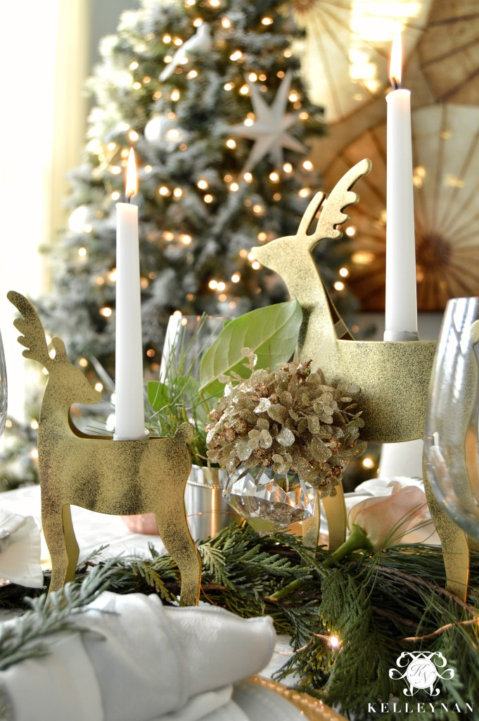 Gold Reindeer Candle Holders