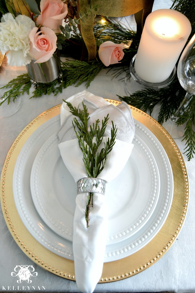 Gold and White Place Setting with Greenery