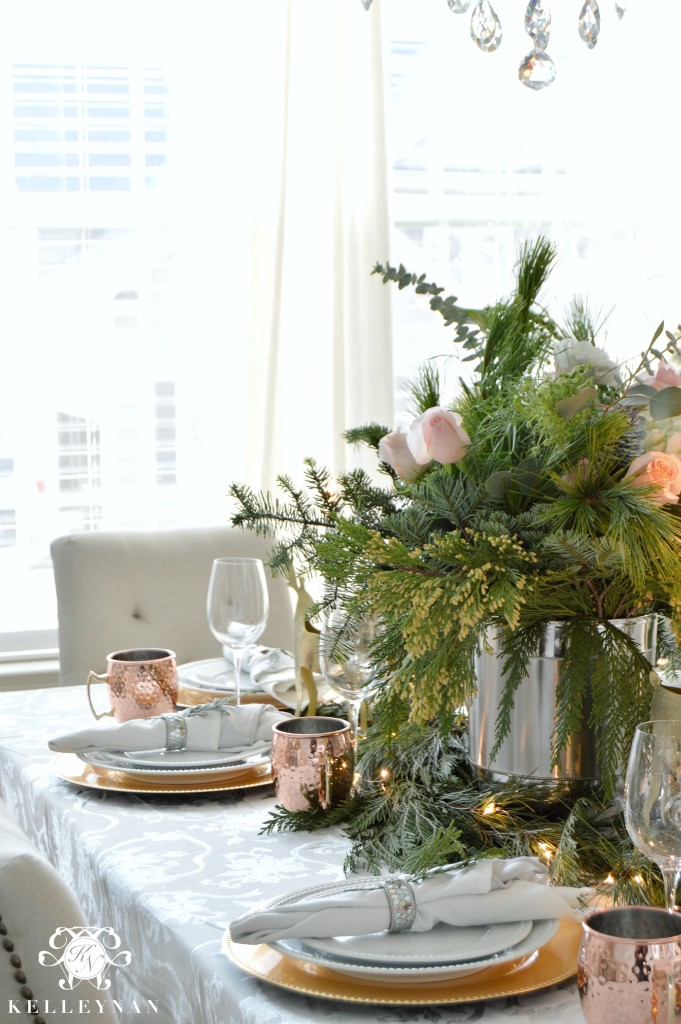 Holiday Table with Greenery Centerpiece
