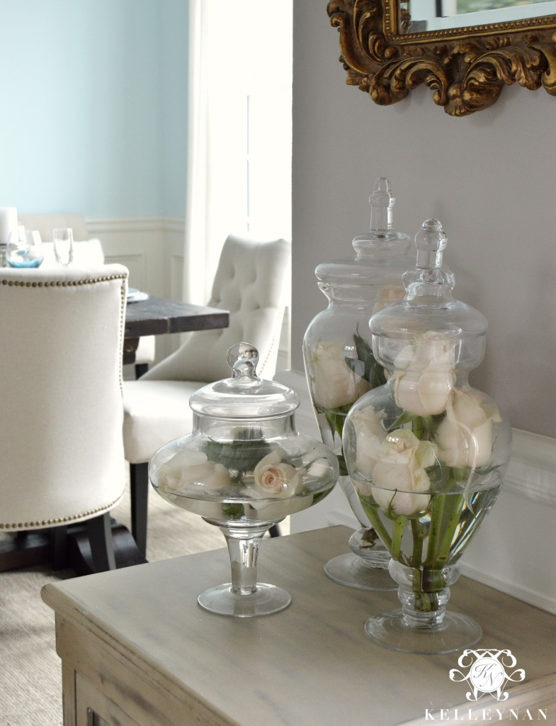Roses in Apothecary Jars