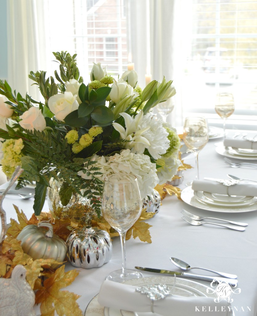 Gold and Silver Thanksgiving Table