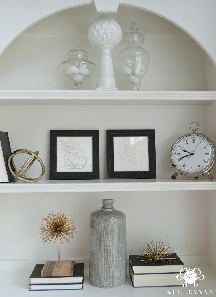Built ins with Apothecary Jars