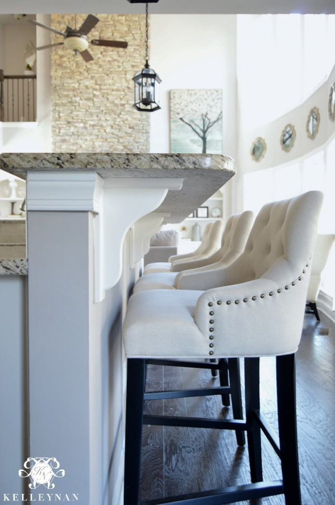 Linen Lydia Bar Stools at Bar in White Kitchen
