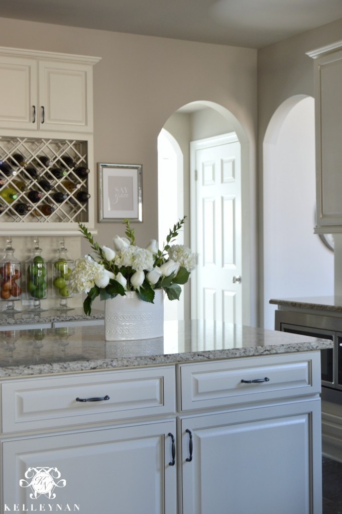 Center Island in White Kitchen Wine Lattice