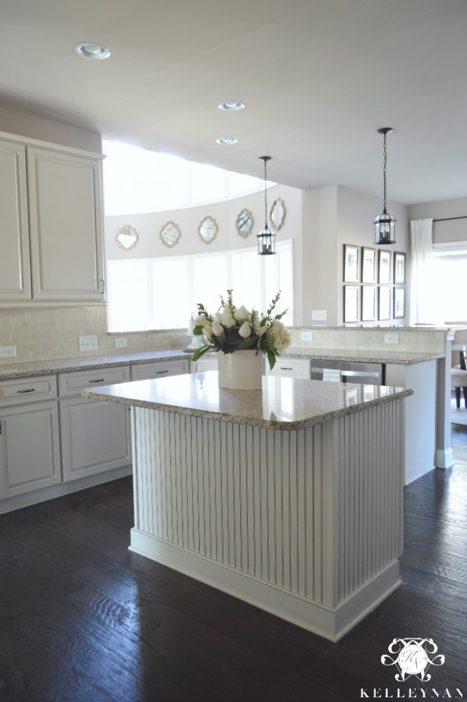 Center Island with bead board in white kitchen