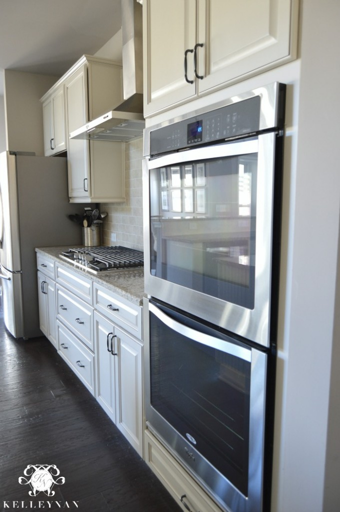 Double ovens by whirlpool in white kitchen