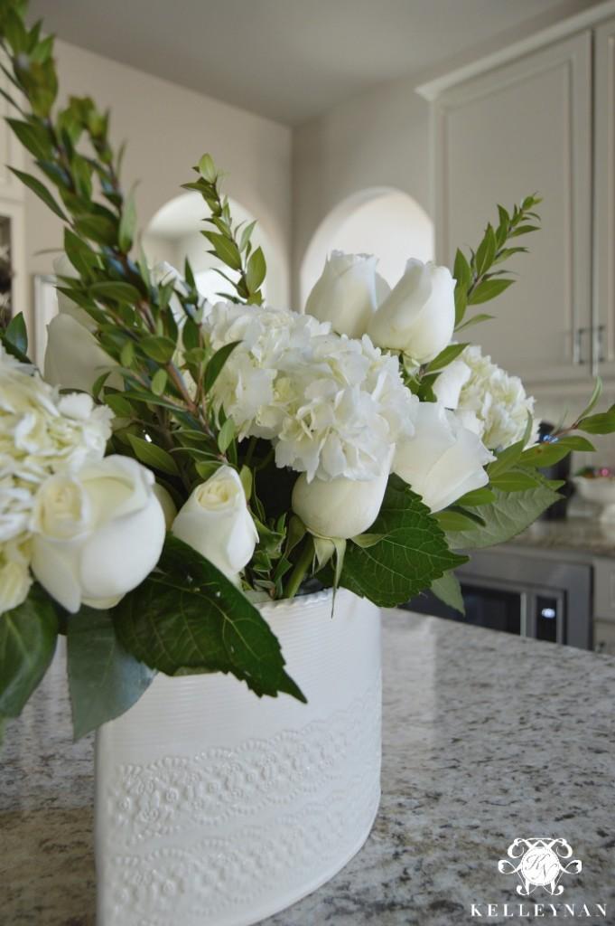 White Pottery on Kitchen Island Neutral Kitchen