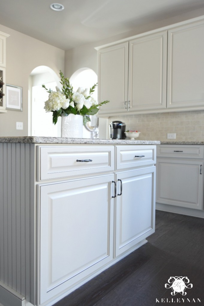 Neutral Kitchen with Beadboard Island