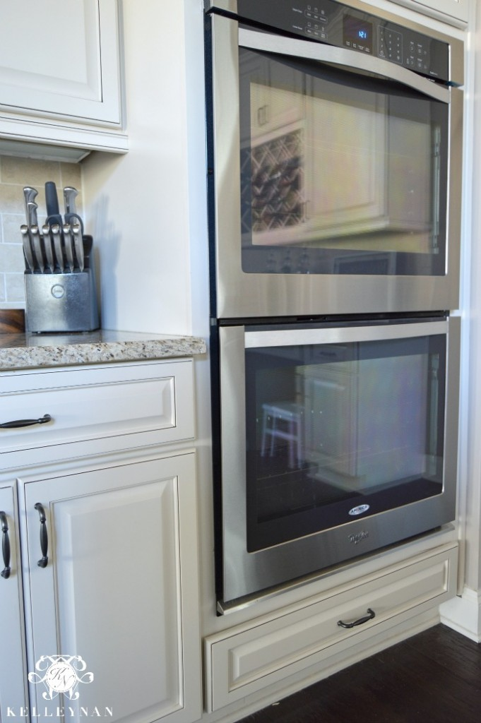 Double Ovens in White Kitchen