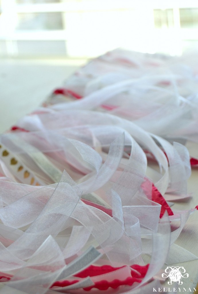 White Valentine's Day Ribbon Garland