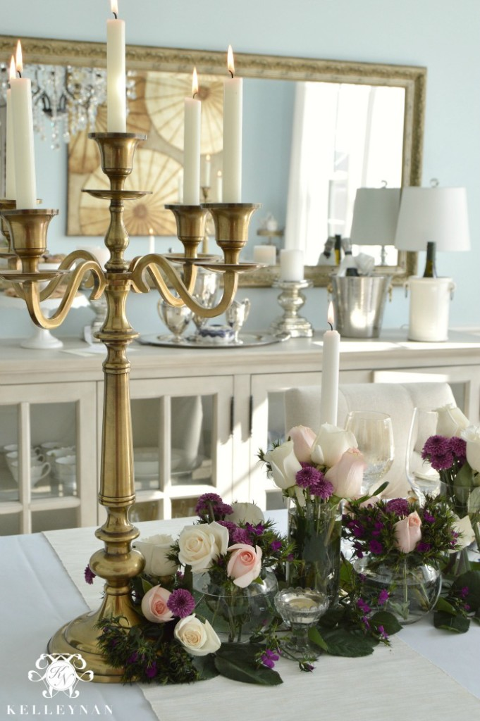 Valentine's Day table with gold candelabra and pink roses
