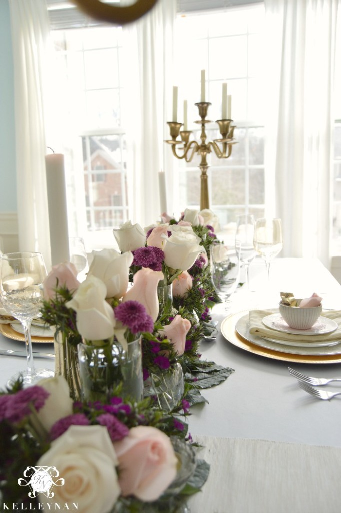 Valentine's Day Table with Flowers Stretching Down Table