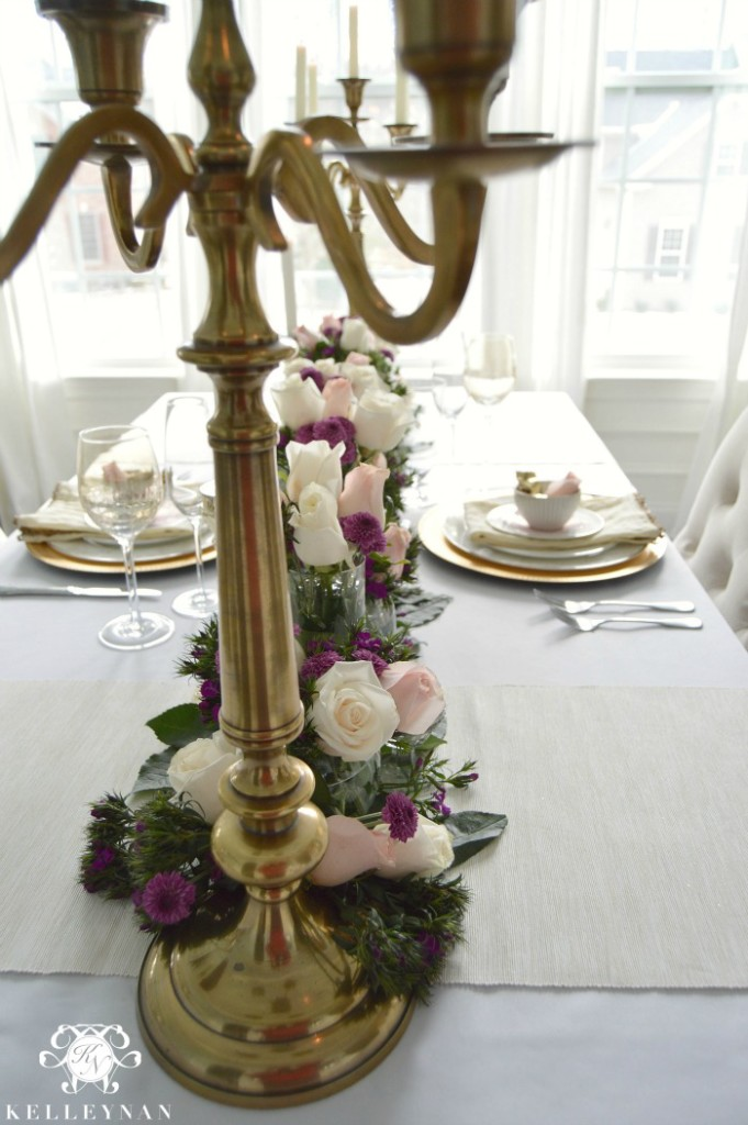 Gold Candelabras Valentines Day table