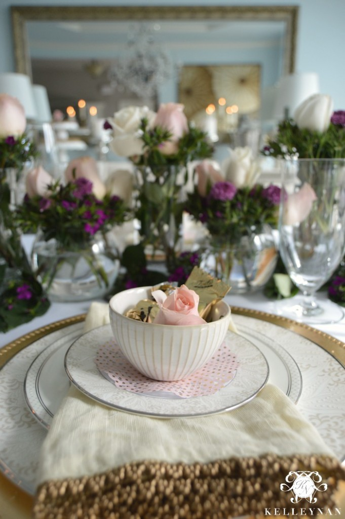 Valentine's Day Place Setting with Purple and Pink Flowers