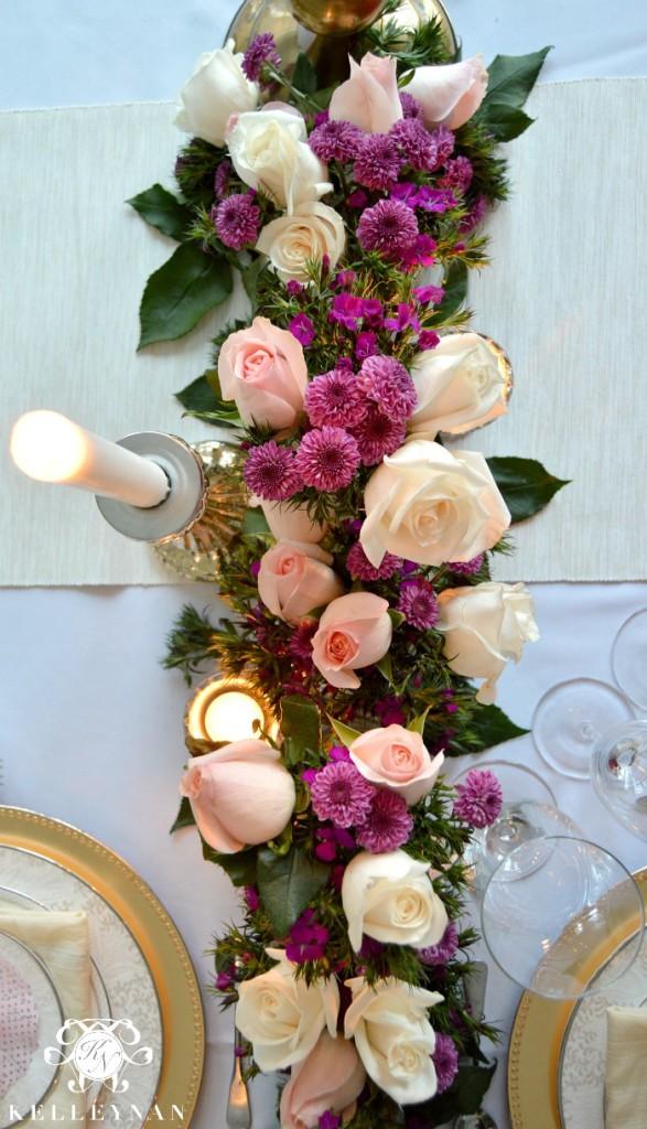 Overhead shot of flowers on table