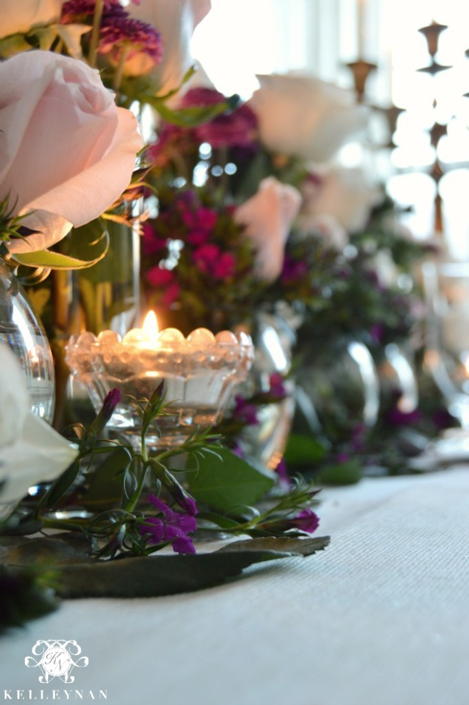 Valentine's Day Table with Candles and Flowers
