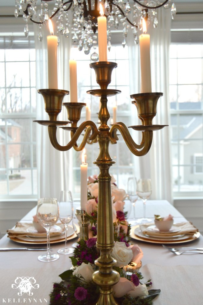 gold candelabras in dining room