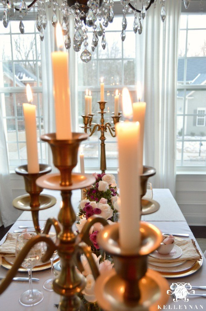 Gold Candelabras on romantic table