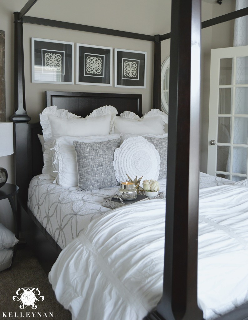 White and Gray Guest Bedroom Bedding