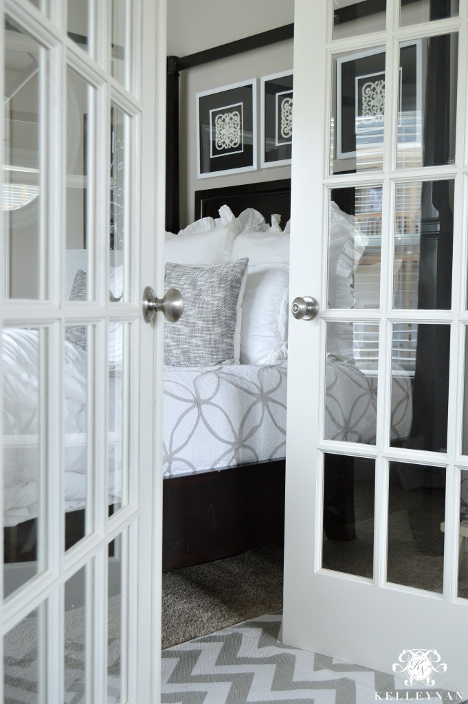 French Doors on Neutral Guest Bedroom