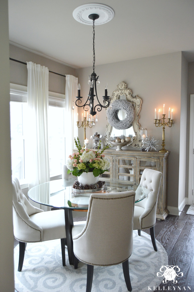 Breakfast Room with Large Floral Centerpiece