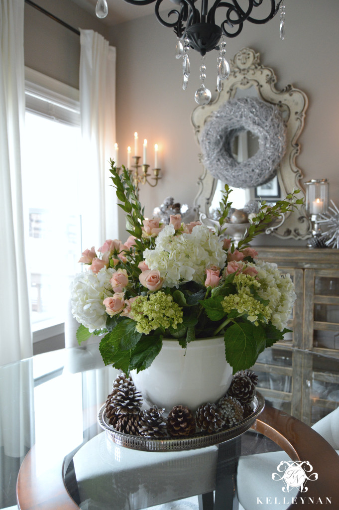 Large Floral Arrangement Centerpiece in Ice Bucket