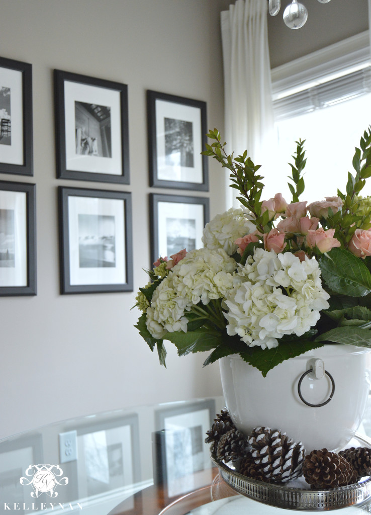 White hydrangea and pink rose arrangements in Pottery Barn Rhodes Ice Bucket