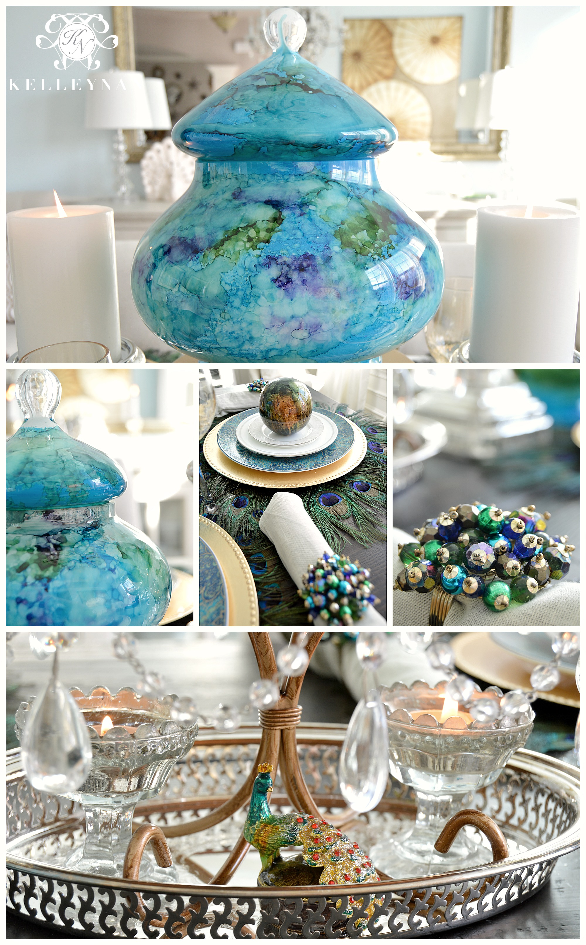 peacock inspired dining room and tablescape - kelley nan