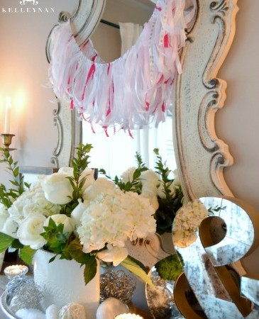 DIY Valentine's Day Ribbon Garland and Buffet Vignette