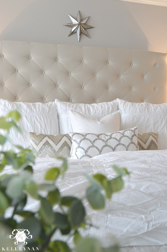 Neutral and White Pottery Barn Tufted Lorraine Bed