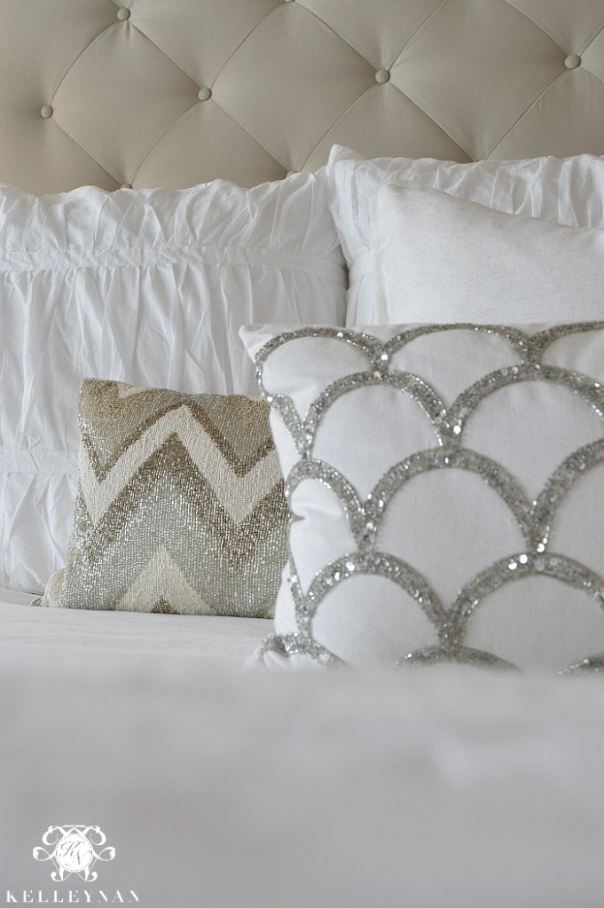 Neutral Beaded Bedding and Pillows