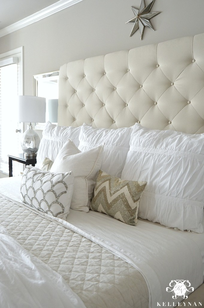 Pottery Barn Lorraine Tufted Bed and White Bedding