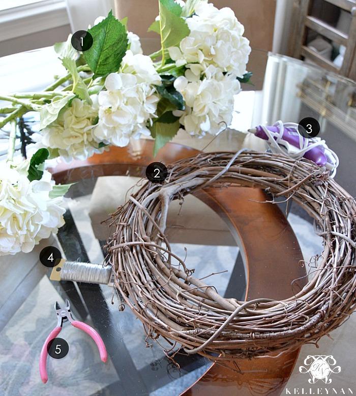 Hydrangea Wreath Materials