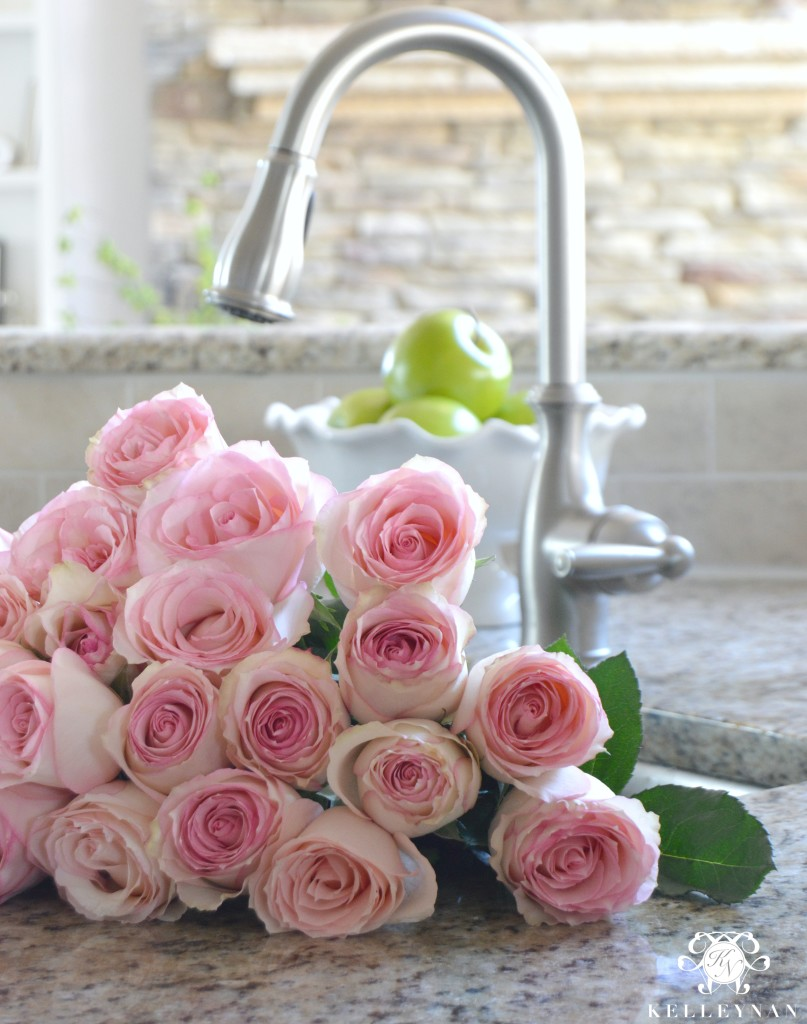 Flowers in the Kitchen Sink- Pink Roses- Swan Neck Faucet