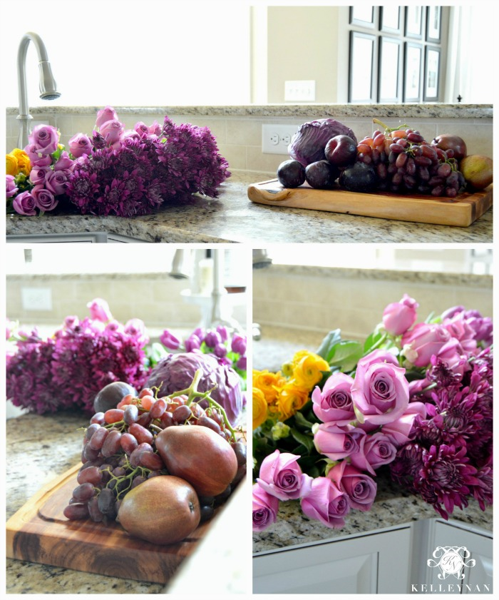 Assembling a purple flower and fruit centerpiece arrangement