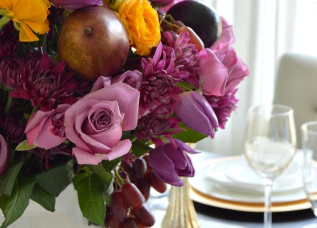 Simple Spring Table with a Vibrant Purple Centerpiece