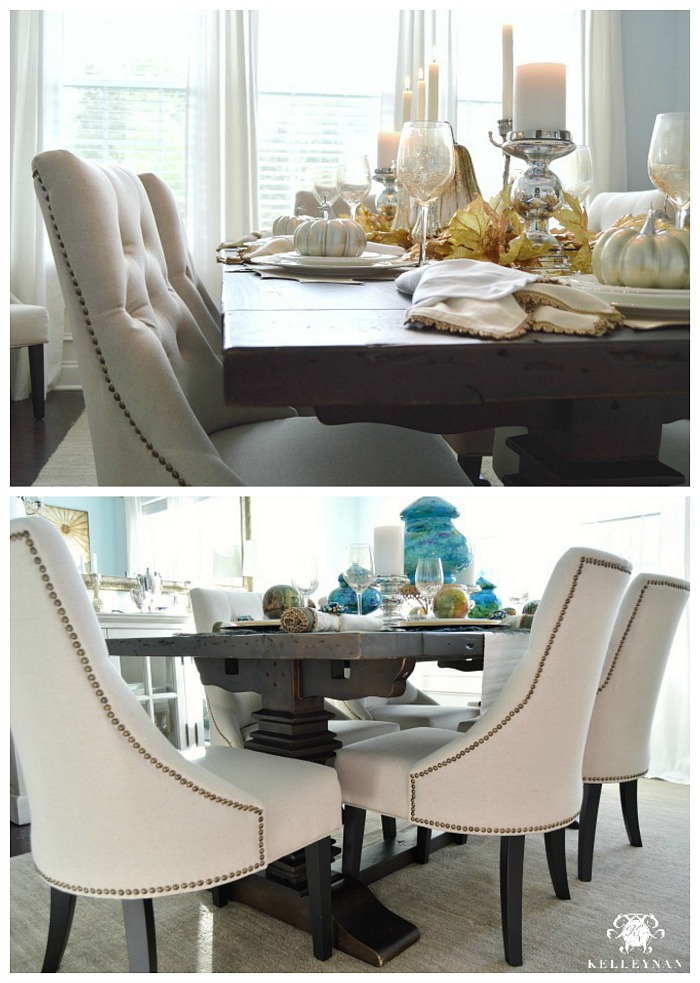 World Market Linen Lydia Chairs And Restoration Hardware Trestle Table
