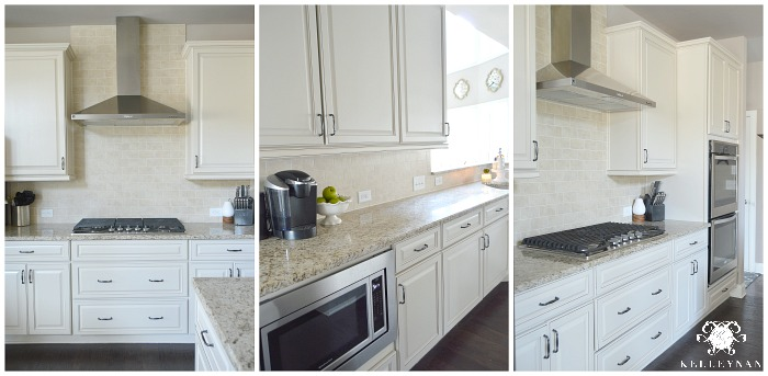 Cream Kitchen and Cabinets with Pewter Cabinet Pulls Stainless Steel Vent Hood