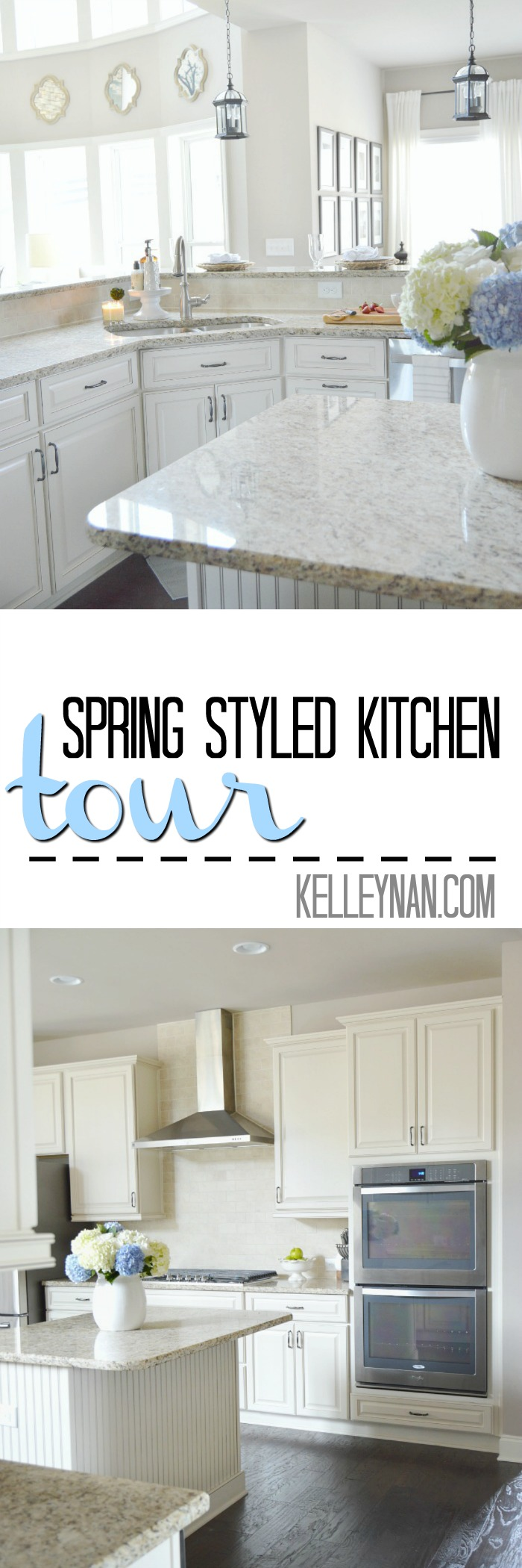 Spring Styled Neutral Kitchen with Hydrangeas